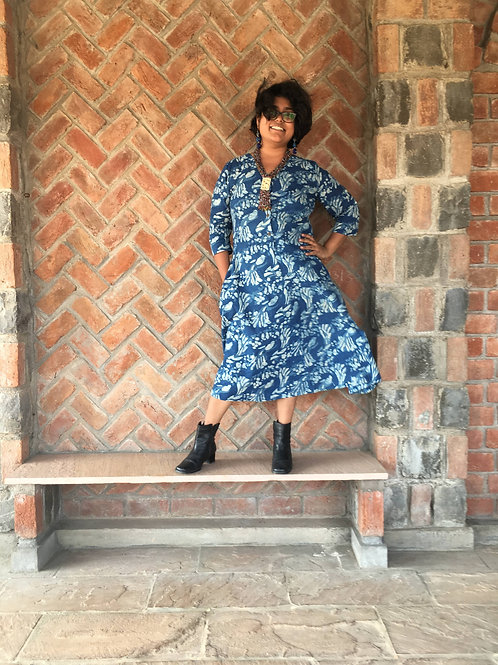 Indigo Petal Button Down Dress