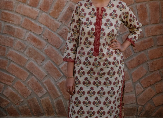 Red Flowers Long Kurta