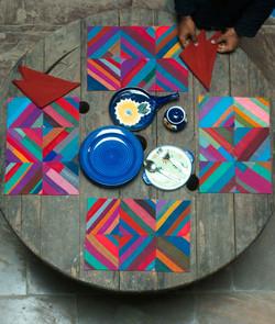 Table Mat Set w/Napkins-Handloom PW