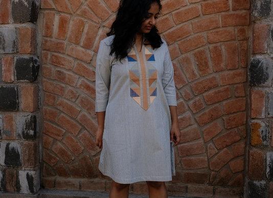 Indigo Pinstripe Desi Patchwork Tunic