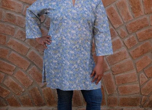 Powder Blue Floral Short Kurta