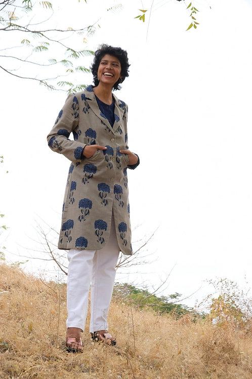 Mehendi Indigo Long Coat