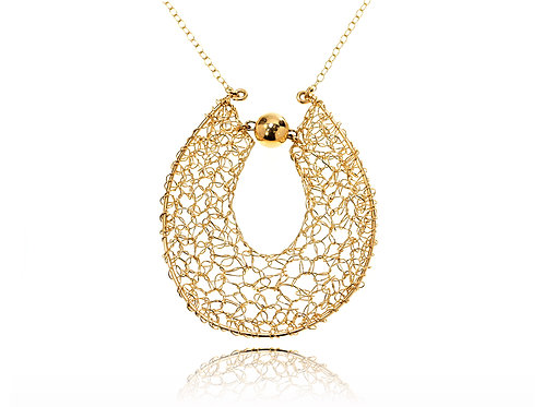 Wired open oval necklace