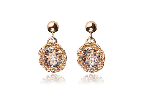 Roundswarovski crystal clear earring