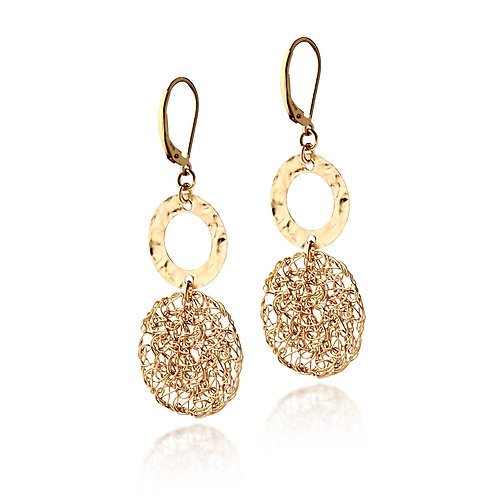 mesh circle and element  -short earring