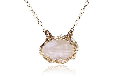 Rose Quartz Monstone Gold Filled necklace