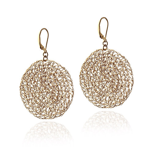 Knitted  plate earrings 4 cm