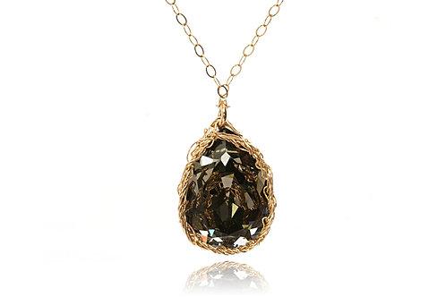 Mesh Swarovski crystal drop necklace