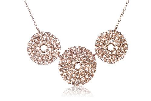 Mesh 3 circles and Swarovski beads necklace