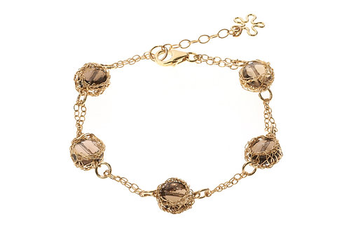 Mesh Smoky quartz beads bracelet
