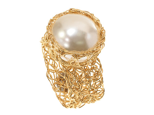 Mesh pearl Ring
