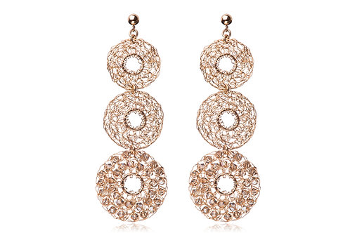 3 mesh circles with hole and Swarovski beads earring