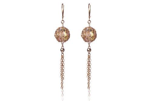 Mesh Swarovski ball and tassels  earring