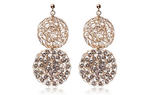 2 mesh circles with Swarovski beads earring