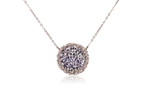 Mesh Swarovski crystal circle necklace