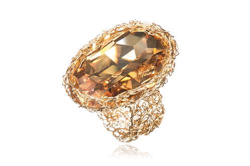 Gold Filled and Golden Shadow swarovski crystal