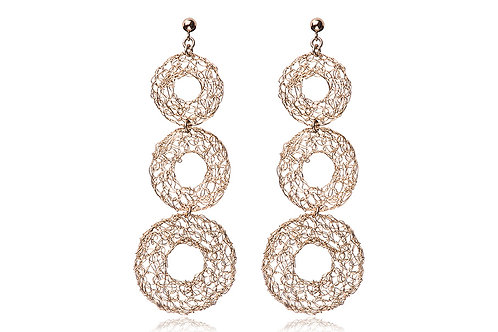 3 mesh circles with hole earring