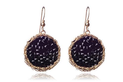 Mesh Swarovski crystal circle earring