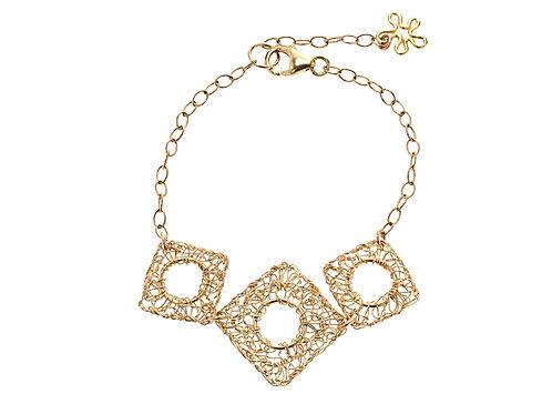Bracelet -3 wire lozenge with hole