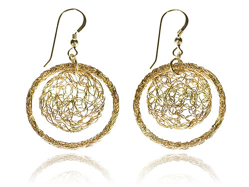 Wired hoop and wire circle  earring