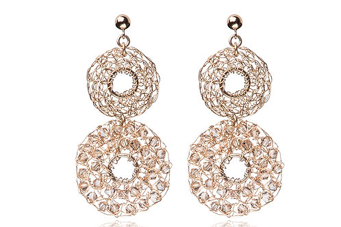 2 circles with hole and Swarovski beads earring