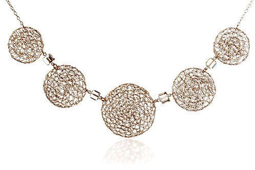 5 wired circles and Swarovski crystal beads necklace