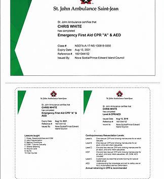 St. John Ambulance Course Certificate  A