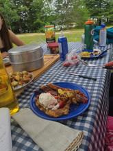 Grand Lake Brunch. Back bacon, sausages,