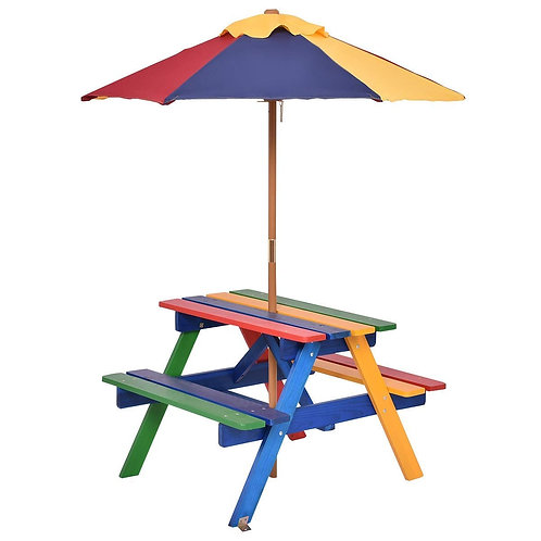 4 Seat Kids Picnic Folding Garden Umbrella Table