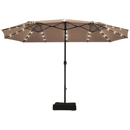 15 Ft Solar LED Patio Double-sided Umbrella Market Umbrella