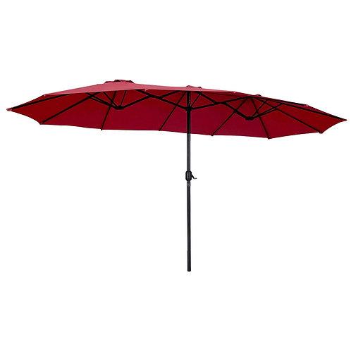 15' Twin Patio Umbrella Double-Sided Outdoor Market Umbrella