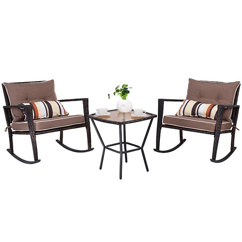 3-Pc Rattan Rocking Chair and Coffee Table Furniture Set