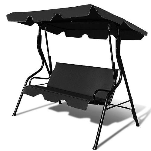 3 Seats Patio Canopy Cushioned Steel Frame Swing Glider Hammock