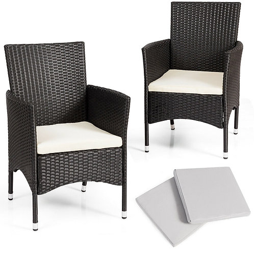 2 Pcs Dining Chairs Set with 2 Cushion Covers