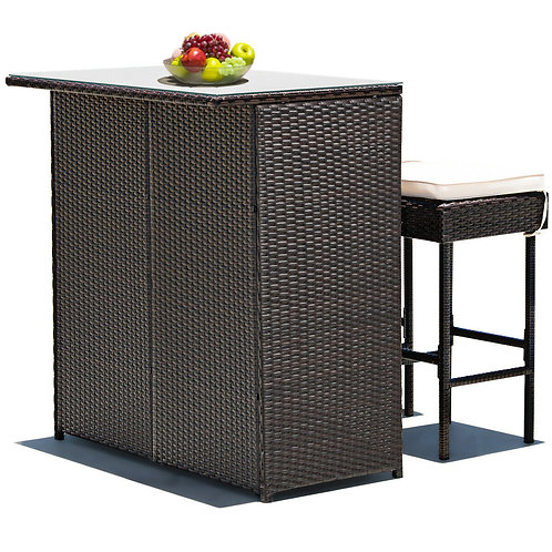 3-piece Rattan Wicker Bar Table Stools Dining Set Cushioned Chairs