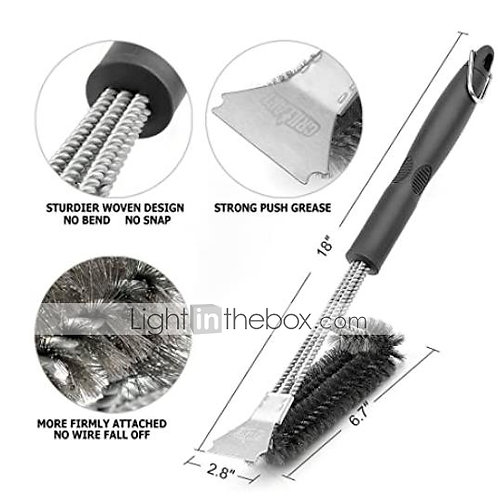 Grill Brush and Scraper Extra Strong BBQ Cleaner Accessories Safe Wire Bristles