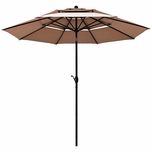 10' 3 Tier Patio Umbrella Aluminum Sunshade Shelter Double Vented