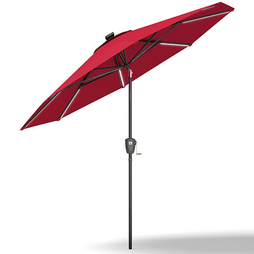 9' Patio Solar Powered Umbrella with LED Light