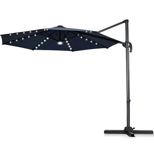 10 Ft Patio Offset Cantilever Umbrella with Solar Lights