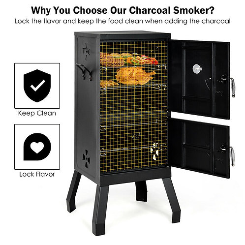 Vertical 2-tier Outdoor Barbeque Grill with Temperature Gauge