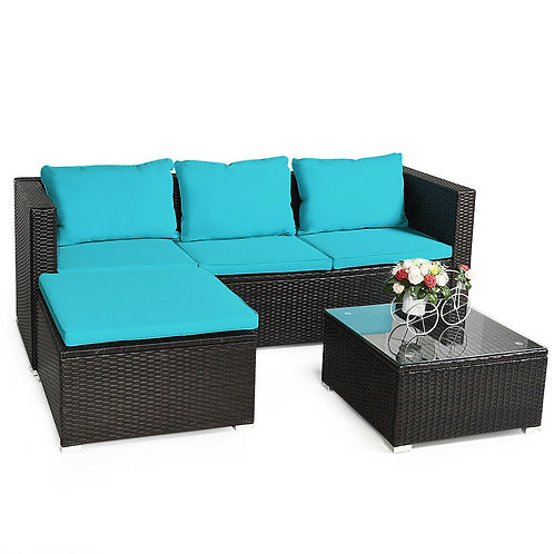 4 Pcs Rattan Furniture Set Loveseat Chair with Cushioned