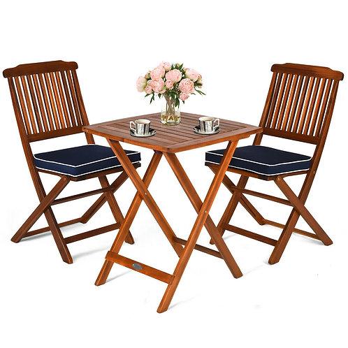 3 Pcs Patio Bistro Set Wood Folding Table Set Garden Yard