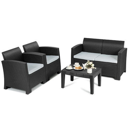 4 Piece Patio Molded Rattan Sectional Sofa Set