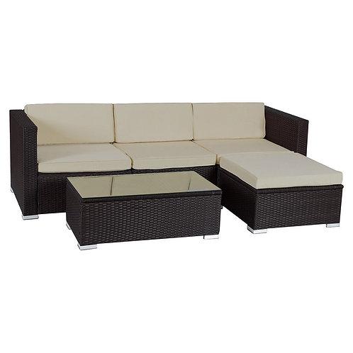 5 Pcs Patio Garden Rattan Furniture Set with Cushion