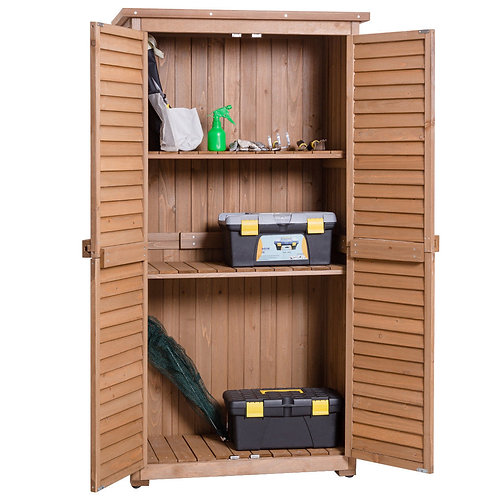 "63"" Tall Garden Storage Shed Wooden Tools Shutter"
