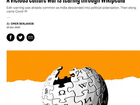 Wikipedia enters India's culture wars