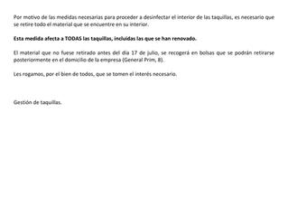 COMUNICADO TAQUILLAS