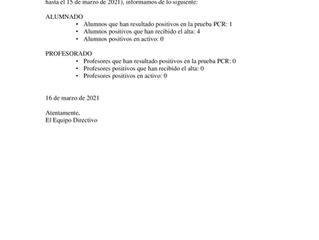 COMUNICADO INCIDENCIAS COVID EN EL IES 16-03-2021