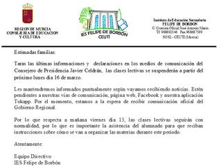 COMUNICADO OFICIAL DE CENTRO