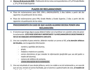 PUBLICACIÓN NOTAS FINALES Y PROCEDIMIENTO A SEGUIR EN CASO DE RECLAMAR